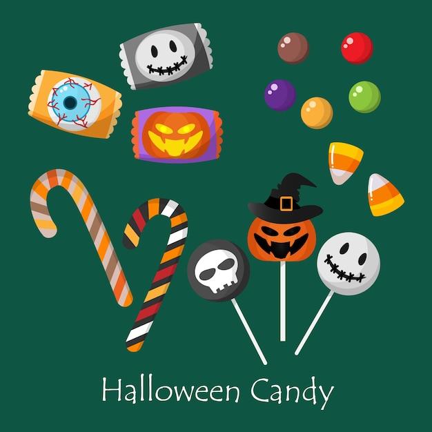Ensemble de bonbons d'halloween. Vecteur Premium