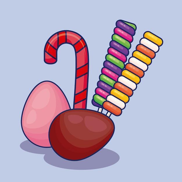 Ensemble de bonbons sucrés Vecteur gratuit