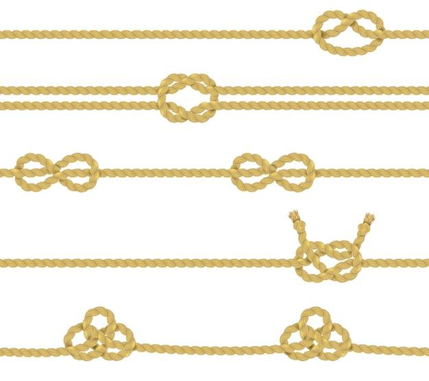 Ensemble de bordure de corde tricotée Vecteur gratuit
