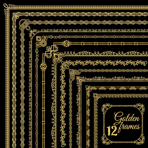 Ensemble de bordures de coin vintage doré Vecteur Premium