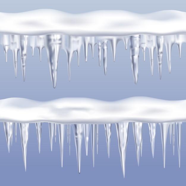 Ensemble de bordures à glaçons icicles Vecteur gratuit
