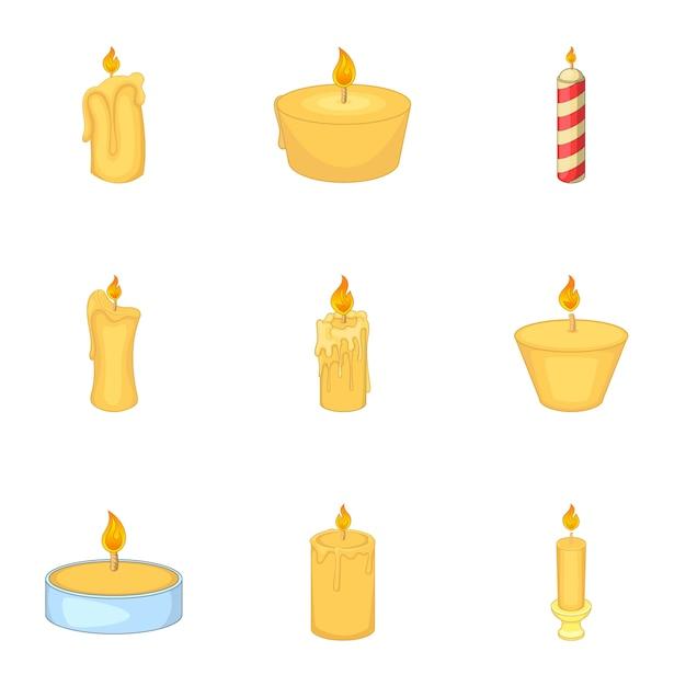 Ensemble de bougies allumées, style cartoon Vecteur Premium