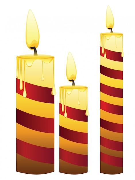 Ensemble de bougies rougeoyantes Vecteur Premium