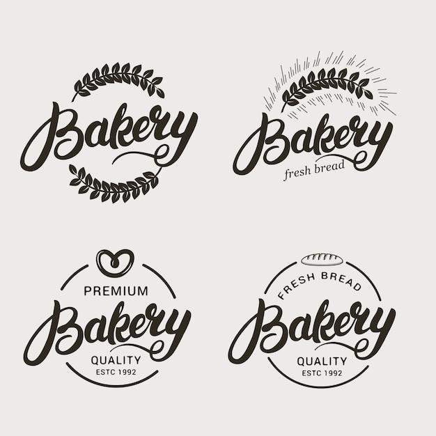 Ensemble De Boulangerie Et Logo De Pain. Vecteur Premium