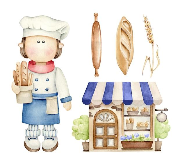 Ensemble De Boulangerie. Vecteur Premium