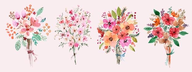 Ensemble De Bouquet D'aquarelle Peint à La Main Floral Aux Couleurs Chaudes Vecteur Premium