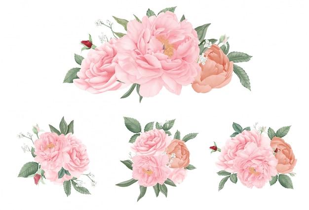 Ensemble De Bouquet De Pivoine Rose. Aquarelle Dessiné à La Main Belle Collection. Fleur De Mariage. Vecteur Premium