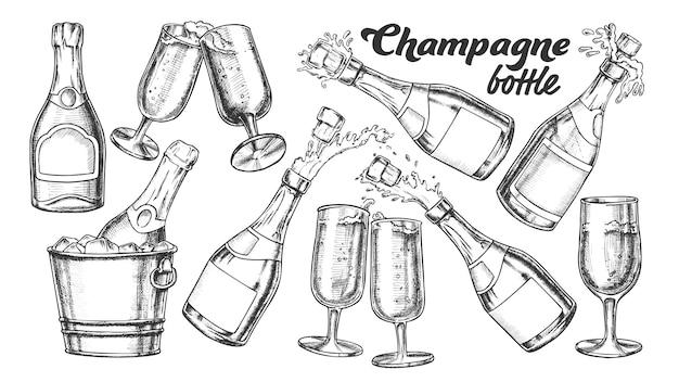 Ensemble Bouteille De Champagne Et Monochrome En Verre Vecteur Premium