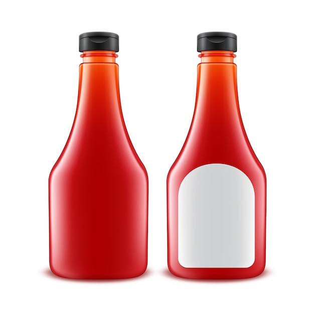 Ensemble De Bouteille De Ketchup De Tomate Rouge En Plastique En Verre Blanc Pour La Marque Vecteur Premium