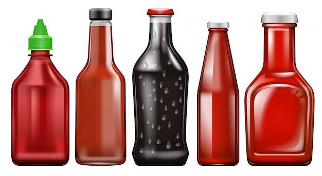 Ensemble de bouteille de sauce différente Vecteur Premium