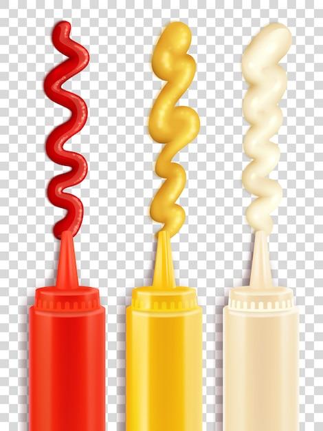 Ensemble de bouteille de sauce Vecteur gratuit