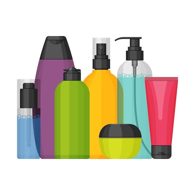Ensemble de bouteilles cosmétiques colorées, design plat Vecteur Premium