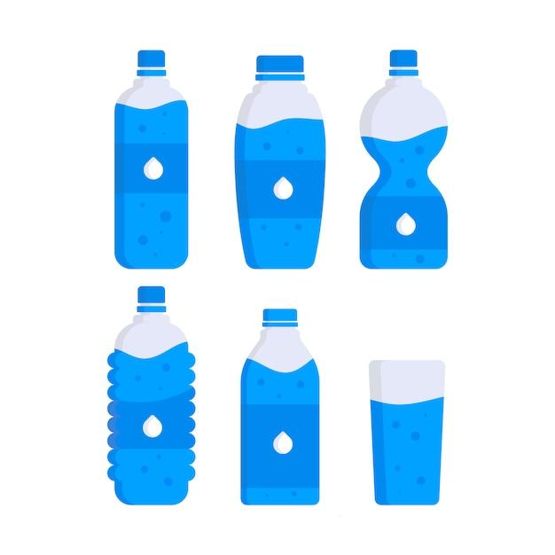 Ensemble de bouteilles d'eau en plastique Vecteur Premium