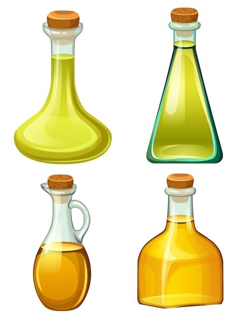 Ensemble de bouteilles avec des huiles végétales. Vecteur Premium