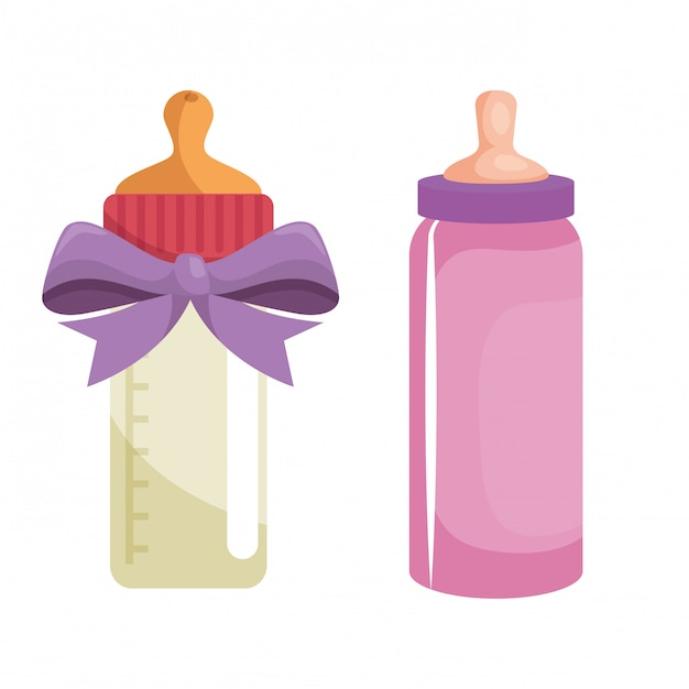Ensemble de bouteilles de lait Vecteur gratuit