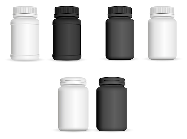 Ensemble de bouteilles de médecine réaliste. 3d pharmaceutique Vecteur Premium