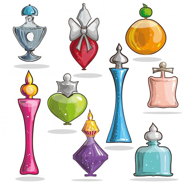 Ensemble De Bouteilles En Verre élégant De Vecteur Avec Des Parfums. Vecteur Premium