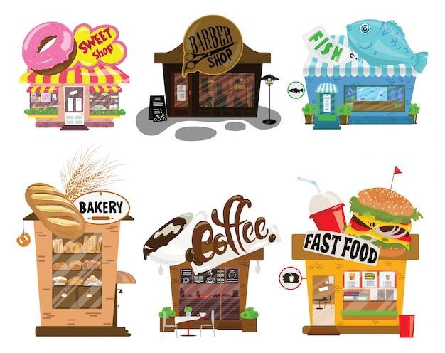 Ensemble De Boutiques. Collection De Petits Magasins De Dessins Animés Avec Un Signe. Compteurs De Commerce Stylisés. Vecteur Premium