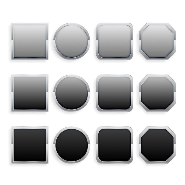 Ensemble de boutons de cadre en métal noir et gris Vecteur gratuit