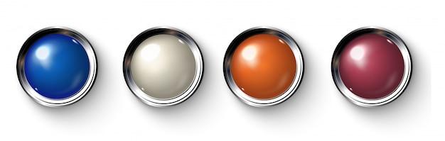 Ensemble de boutons de couleur réalistes avec des bordures métalliques. Vecteur Premium