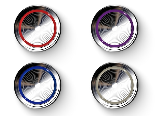 Ensemble de boutons de couleur réalistes Vecteur Premium