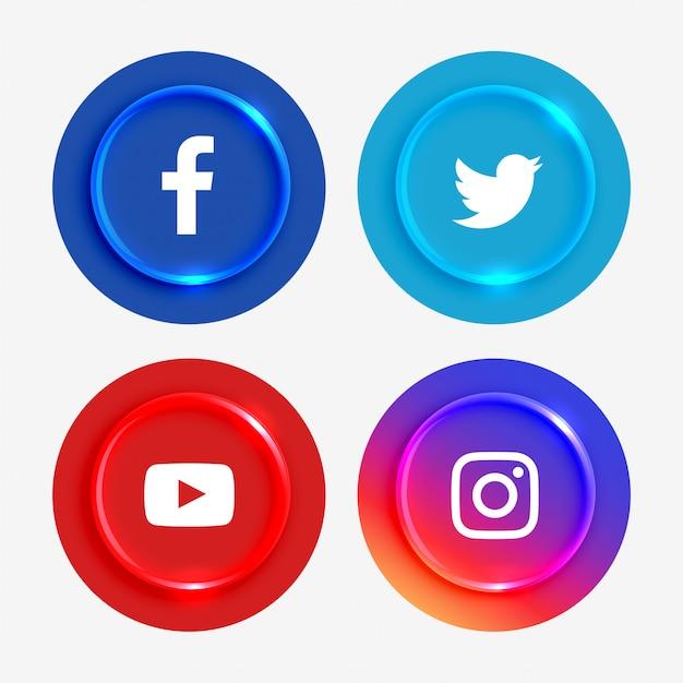 Ensemble de boutons de logos de médias sociaux populaires Vecteur gratuit