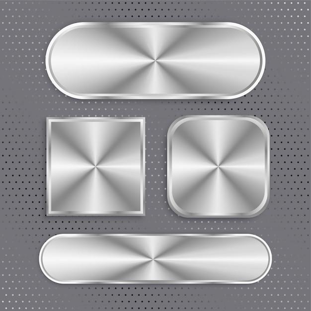 Ensemble de boutons métalliques avec surface brossée Vecteur gratuit