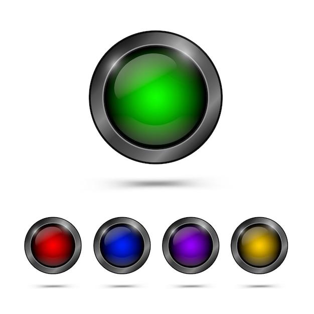 Ensemble de boutons de verre à la mode Vecteur Premium