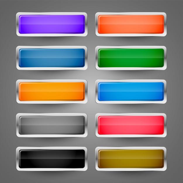 Ensemble de boutons web brillant métallique brillant Vecteur gratuit