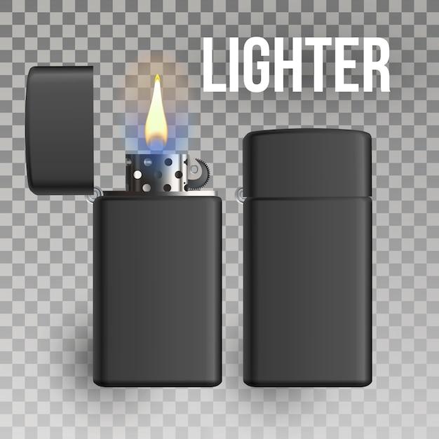 Ensemble briquet flaming Vecteur Premium