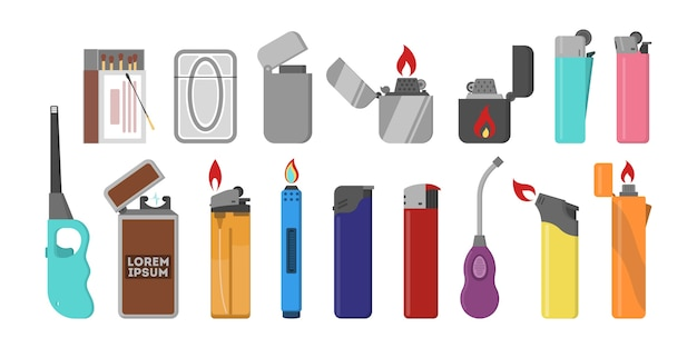 Ensemble Briquet En Plastique. Flamme De Gaz. Accessoire Pour Fumer. Vecteur Premium