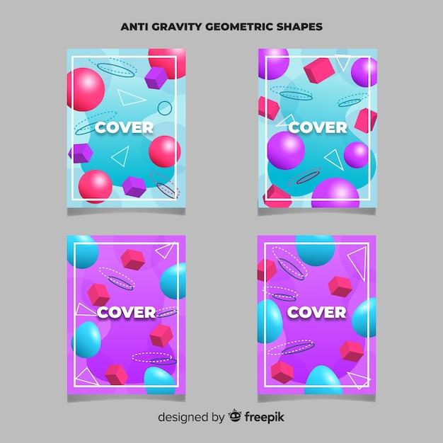 Ensemble de brochures de formes polygonales flottantes Vecteur gratuit
