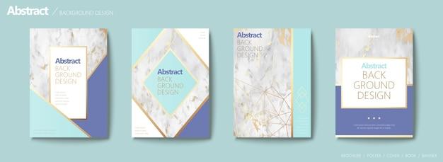 Ensemble De Brochures Gracieuses, Forme Géométrique Avec Ligne Dorée Et Texture De Pierre De Marbre, Ton Bleu Aqua Vecteur Premium