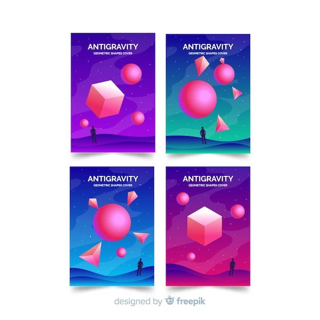 Ensemble de brochures de polygone 3d flottant coloré Vecteur gratuit