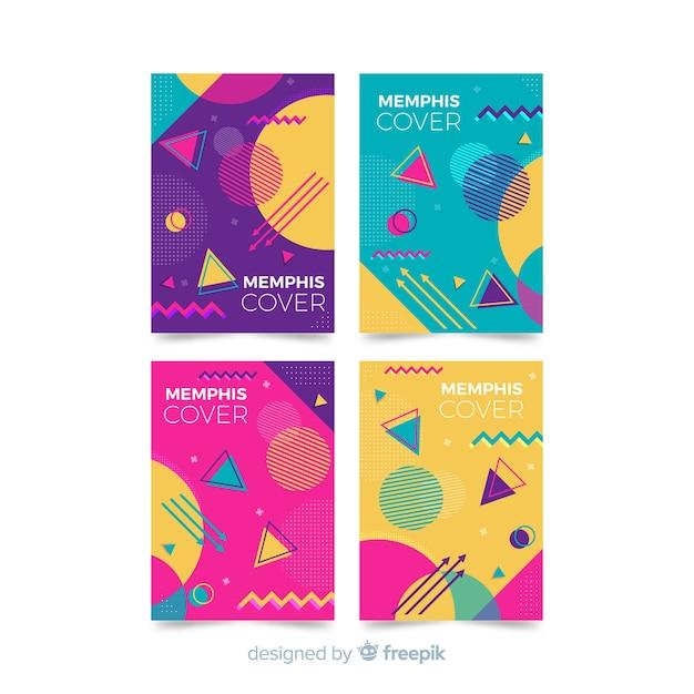 Ensemble de brochures de style coloré memphis Vecteur gratuit