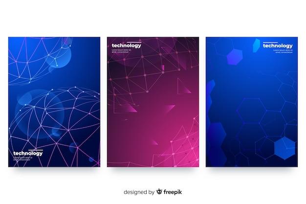 Ensemble de brochures de style technologique Vecteur gratuit