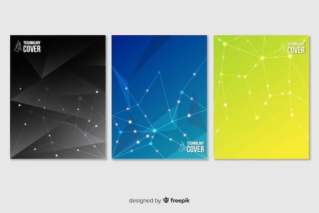 Ensemble de brochures technologiques colorées Vecteur gratuit