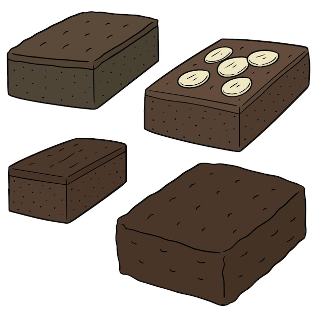 Ensemble de brownie Vecteur Premium