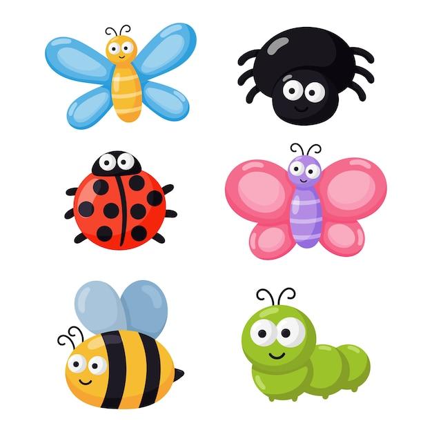 Ensemble De Bugs Drôles. Insectes De Dessin Animé Isolés Sur Fond Blanc. Vecteur Premium