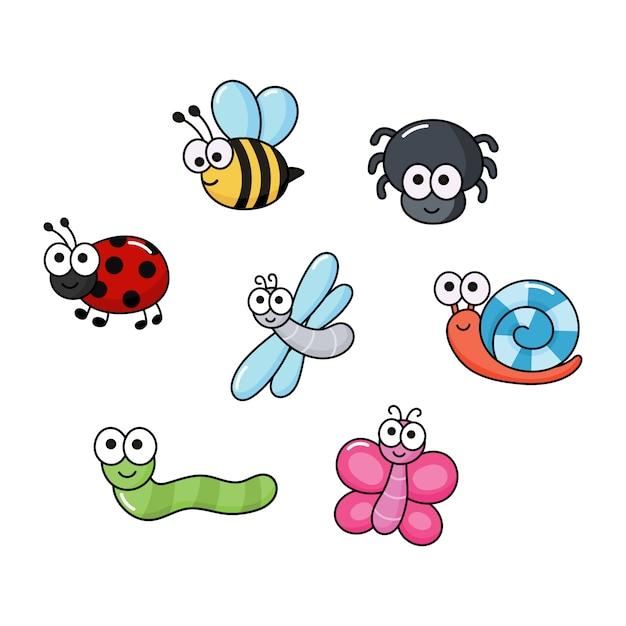 Ensemble De Bugs Drôles. Insectes De Dessin Animé Isolés Vecteur Premium