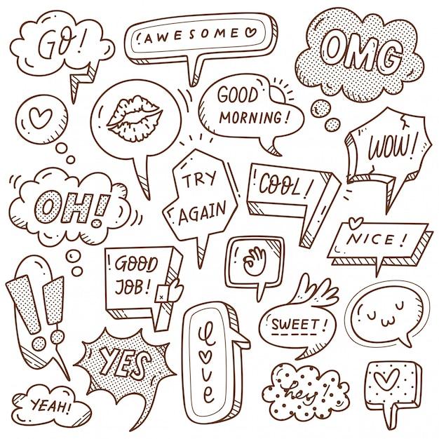 Ensemble de bulle mignon dans le style de doodle Vecteur Premium