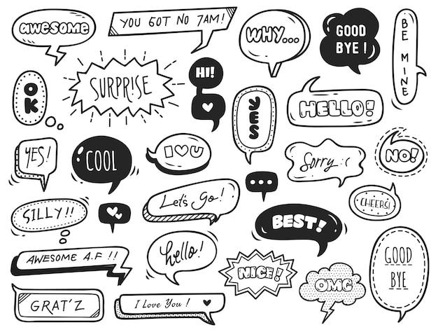 Ensemble de bulle mignon avec du texte dans un style doodle Vecteur Premium