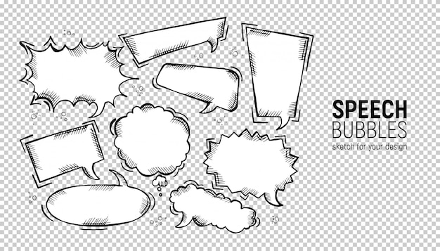 Ensemble de bulles de bande dessinée. Vecteur Premium