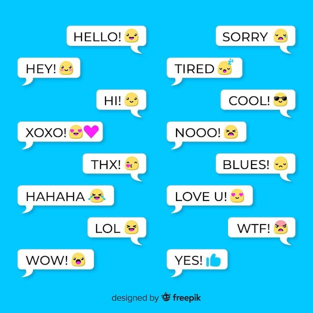 Ensemble de bulles avec différents emojis Vecteur gratuit