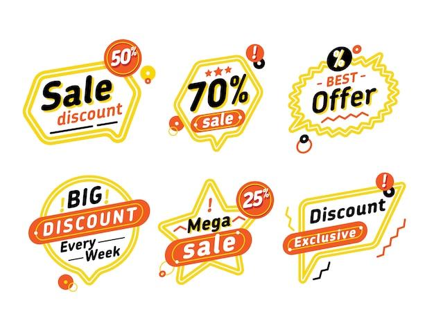 Ensemble de bulles avec offres de réduction Vecteur Premium