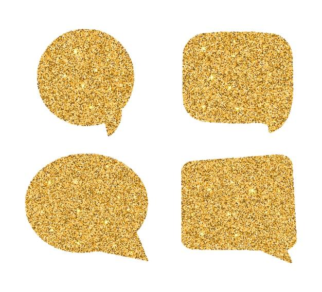 Ensemble de bulles d'or. Vecteur Premium