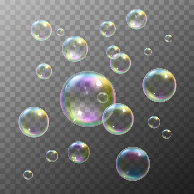 Ensemble de bulles de savon Vecteur gratuit