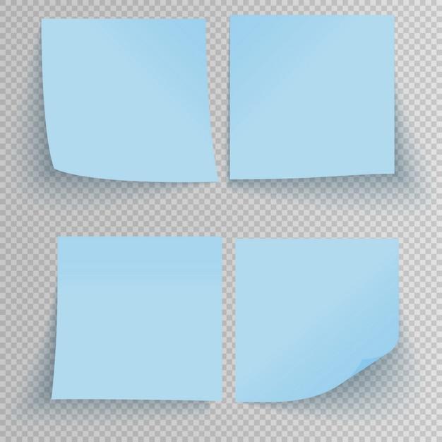 Ensemble de bureau autocollants collants bleus avec ombre isolé sur transparent. Vecteur Premium