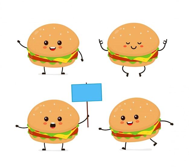 Ensemble De Burger Mignon Drôle Heureux Souriant Mignon. Illustration De Personnage De Dessin Animé De Style Plat Moderne.isolé Sur Blanc .burger, Repas De Hamburger. Courir, Méditer, Se Tient Avec Un Signe Vecteur Premium