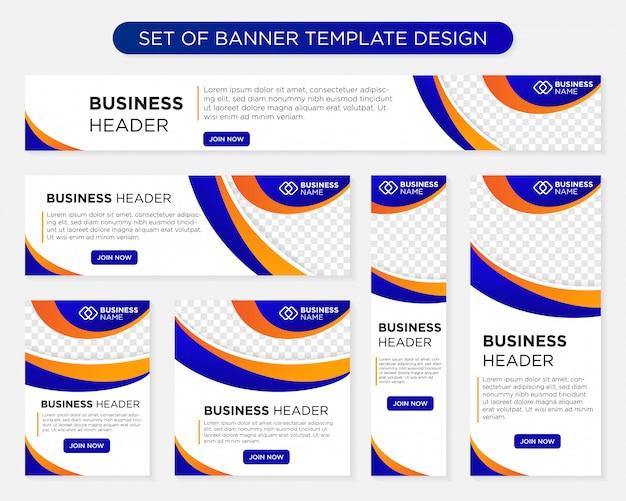Ensemble de business bannière modèle design tailles de formats différents Vecteur Premium